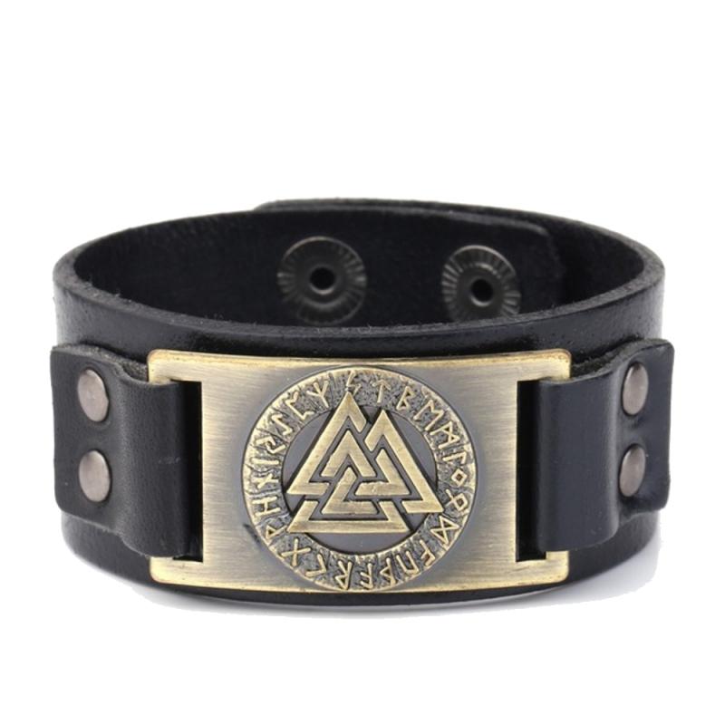 Valknut leather bracelet in black