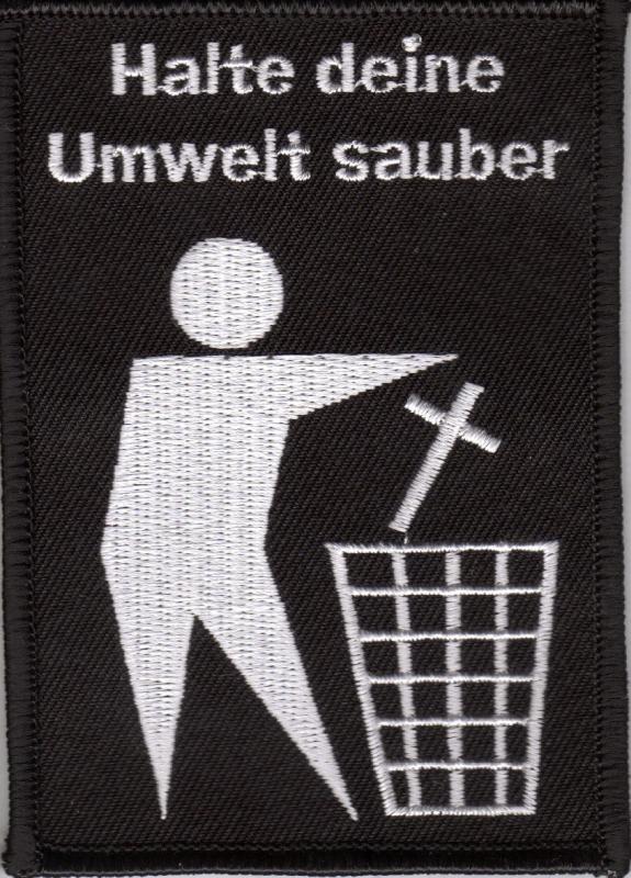Halte deine Umwelt sauber / Kreuz in Müll (Aufnäher)