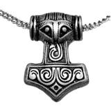 Thors Hammer versilbert rustikal (Kettenanhänger)