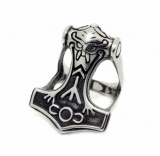 Thorhammer Ring with Viking Head (Silver)
