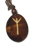 Algiz Rune - Pendant of Bone (Brown)