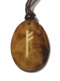 Fehu Rune - Pendant of Bone (Brown)