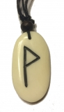 Wunjo Rune - Pendant of Bone (White)