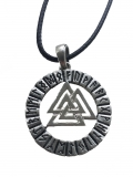 Valknut in the runes circle (Pendant in silver)