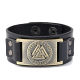 Valknut leather bracelet in black