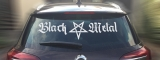 Black Metal + Pentagram [long] rear window sticker