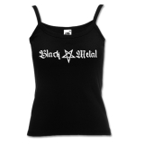 Black Metal + Pentagram [long] Girly Spaghetti-Strap-Shirt