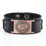 World tree leather bracelet in black