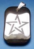 Pentagramm auf Hämatit (Kettenanhänger - Stein)