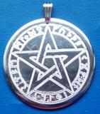 Pentagramm mit Runen (Kettenanhänger - Messing)