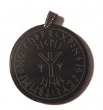 Protective seal rune of life Algiz - Horn pendant, hanger in brass