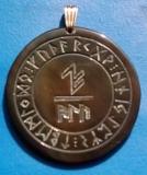 Schutzformel  ALU im Runenkreis (Wasserbüffelhorn)