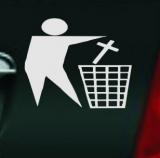 Halte deine Umwelt sauber / Kreuz in den Müll (Autoaufkleber)