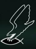 Adler fängt Christenfisch (Autoaufkleber)